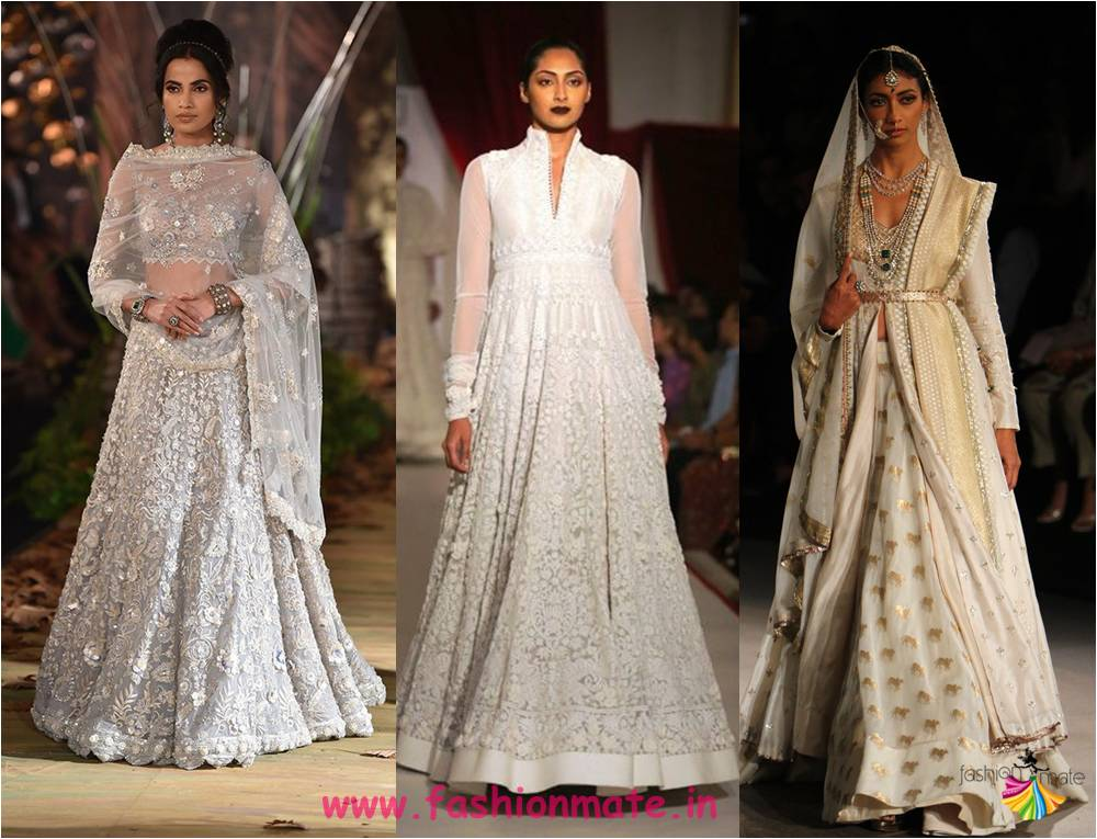 top to toe in white -latest trendy bridal lehenga colours for 2017