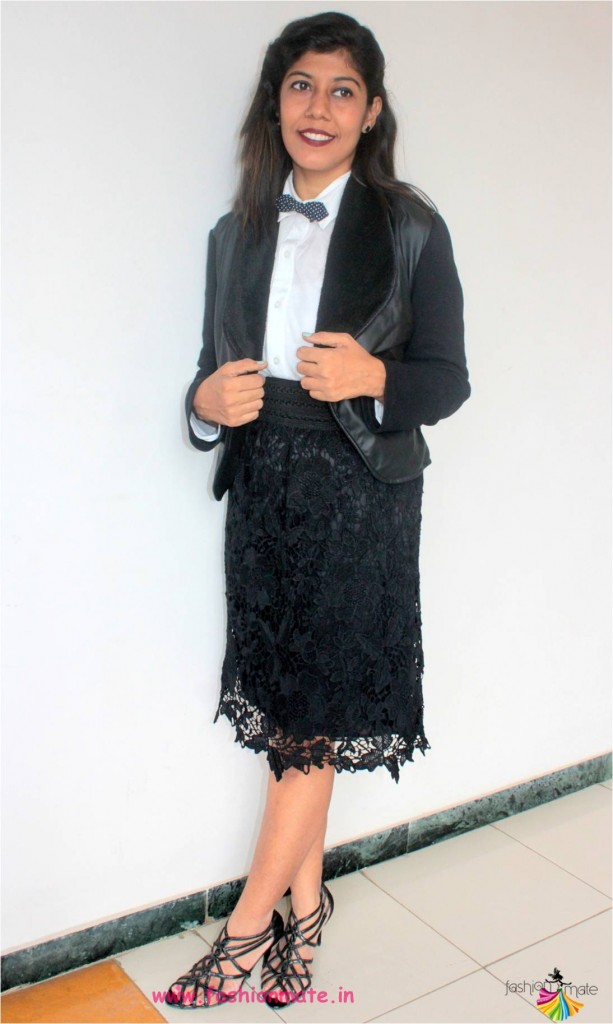 women workwear fashion - bowtie and furcoat