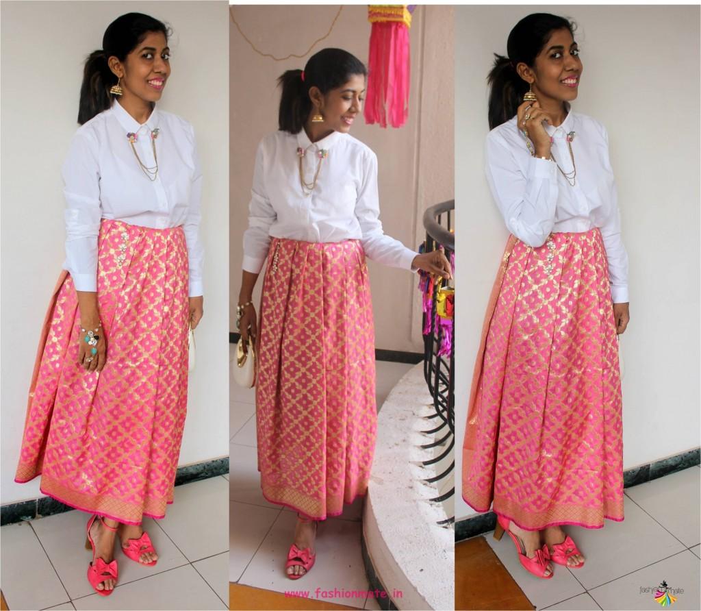 10 stylish ways to wear a banarasi silk dupatta - diy banarasi skirt
