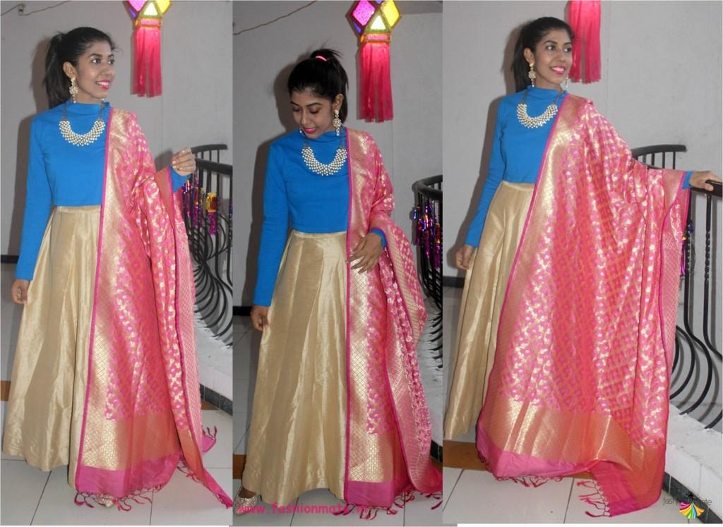 different ways to wear banarasi silk - crop top lehenga