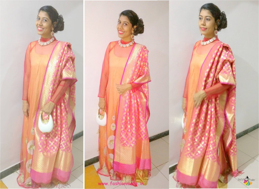 a900b72960721 different ways to wear banarasi silk dupatta - Indian fashion blog