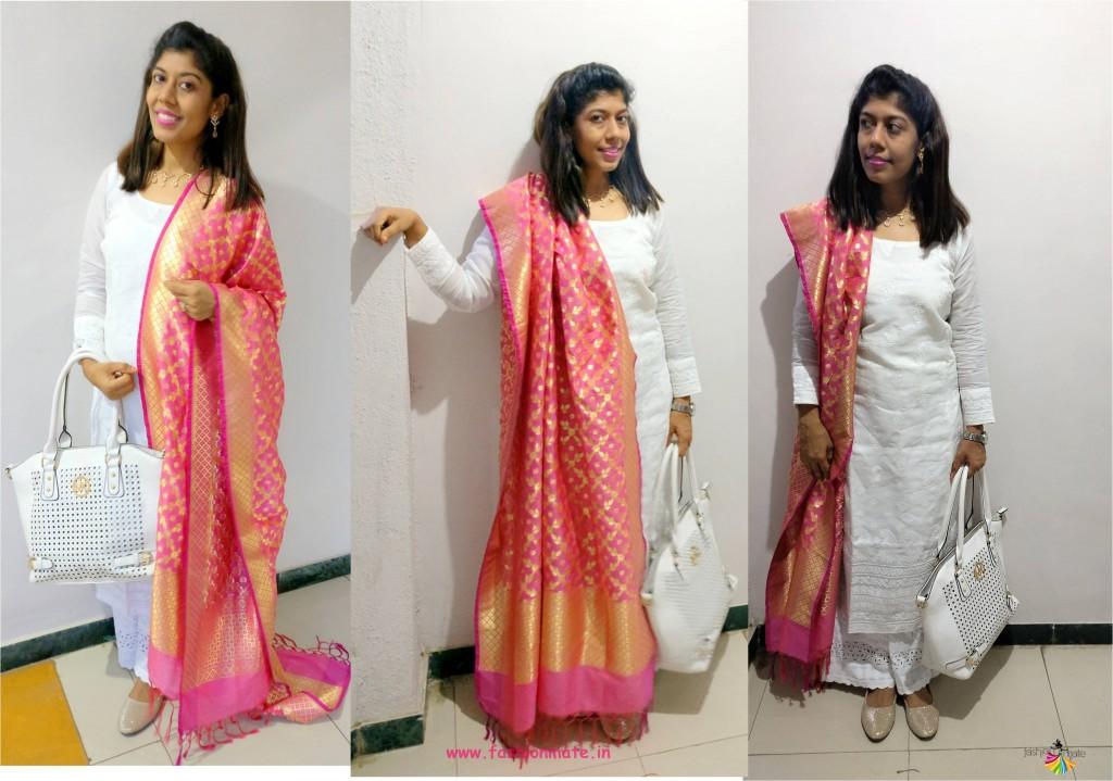 white salwar kameez with banarasi silk dupatta - 10 different ways to wear one dupatta