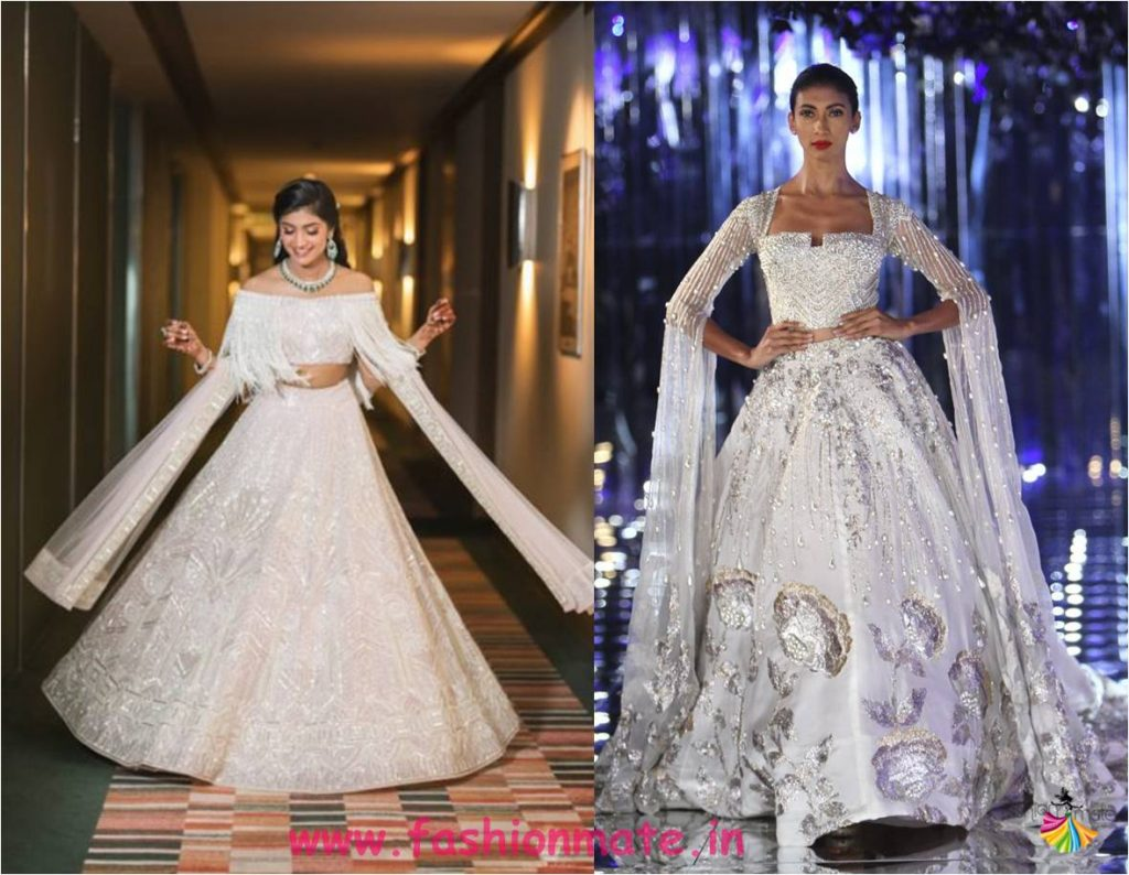 Indian bridal reception dress 2018 - slit sleeve gowns lehenga