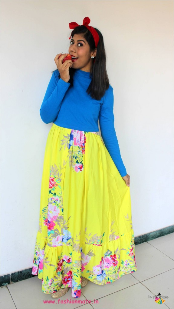 blue crop top and yellow floral maxi for diy snowhite outfit