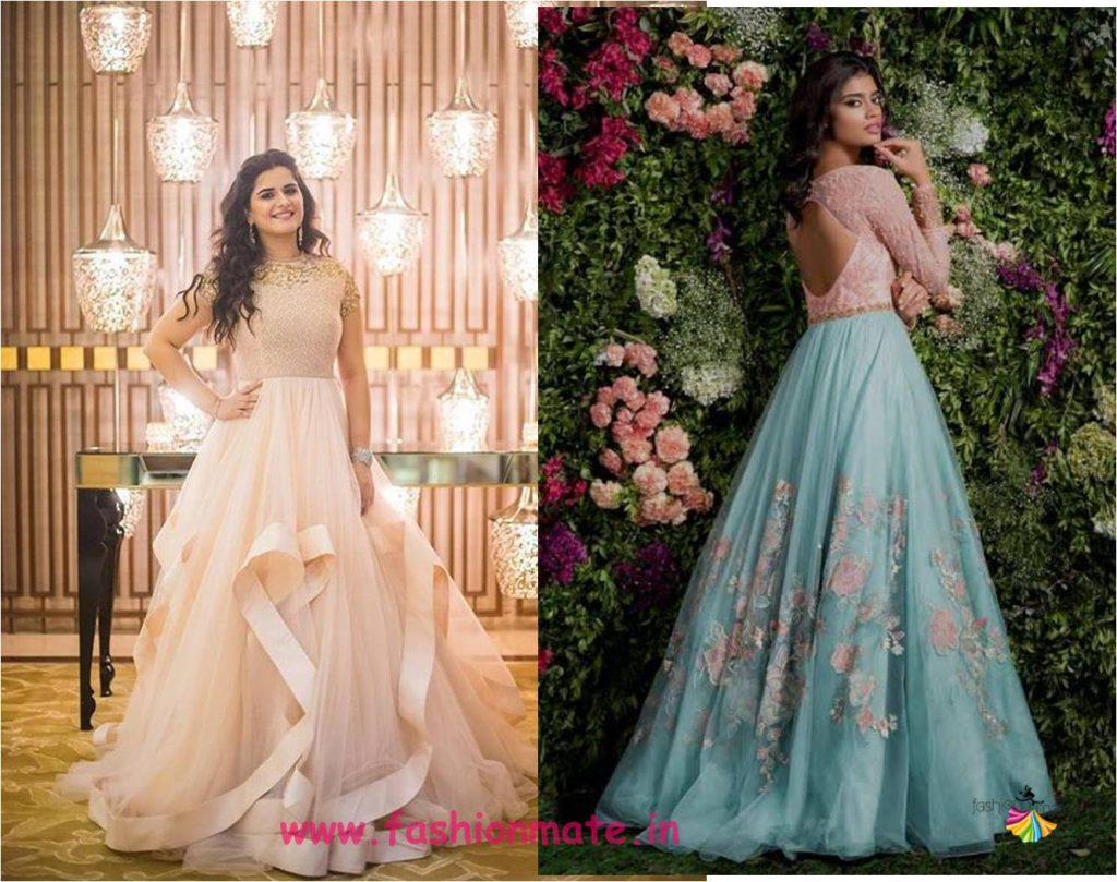 layered tier gowns for wedding reception - real brides in shyamal and bhumika