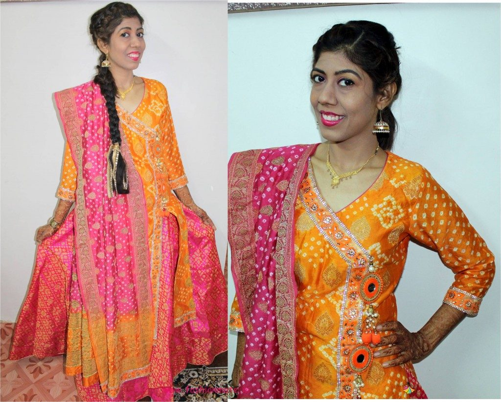 bandhani kurta lehenga - sister of bride haldi ceremony outfit 2018