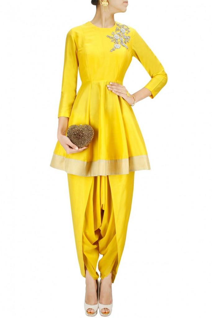 peplum kurta with dhoti pants - unique haldi ceremony outfit ideas 2018