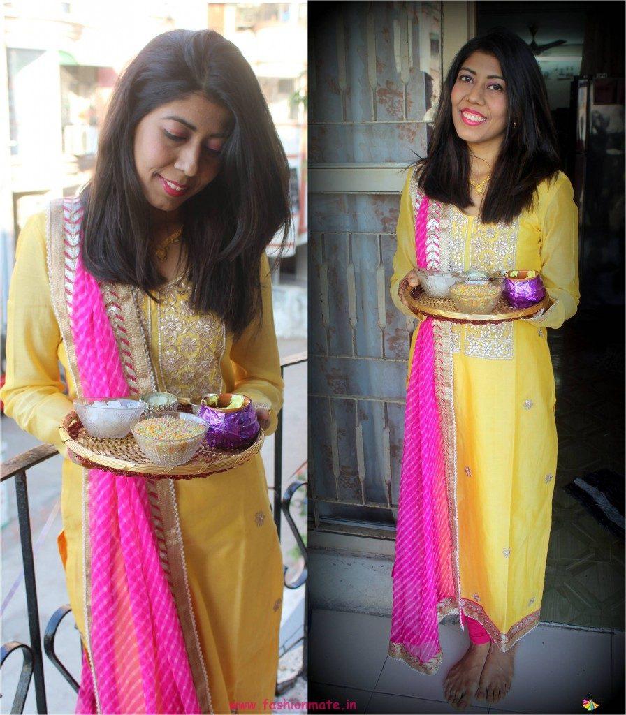 sister of bride haldi outfit yellow and pink leheriya dupatta gotapatti dress 2018