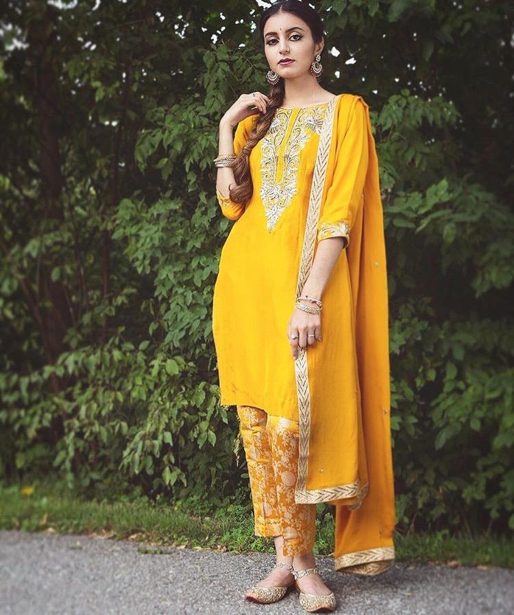 yellow pant suit pakistani kameez for haldi ceremony 2018