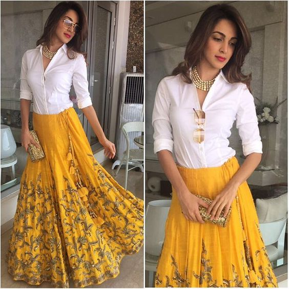 yellow skirt with shirt - haldi function outfit for sister of bride