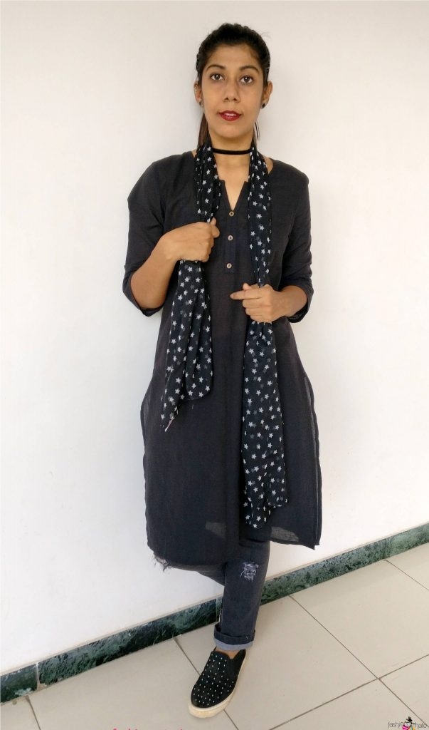 how to style a basic black kurta into a goth look