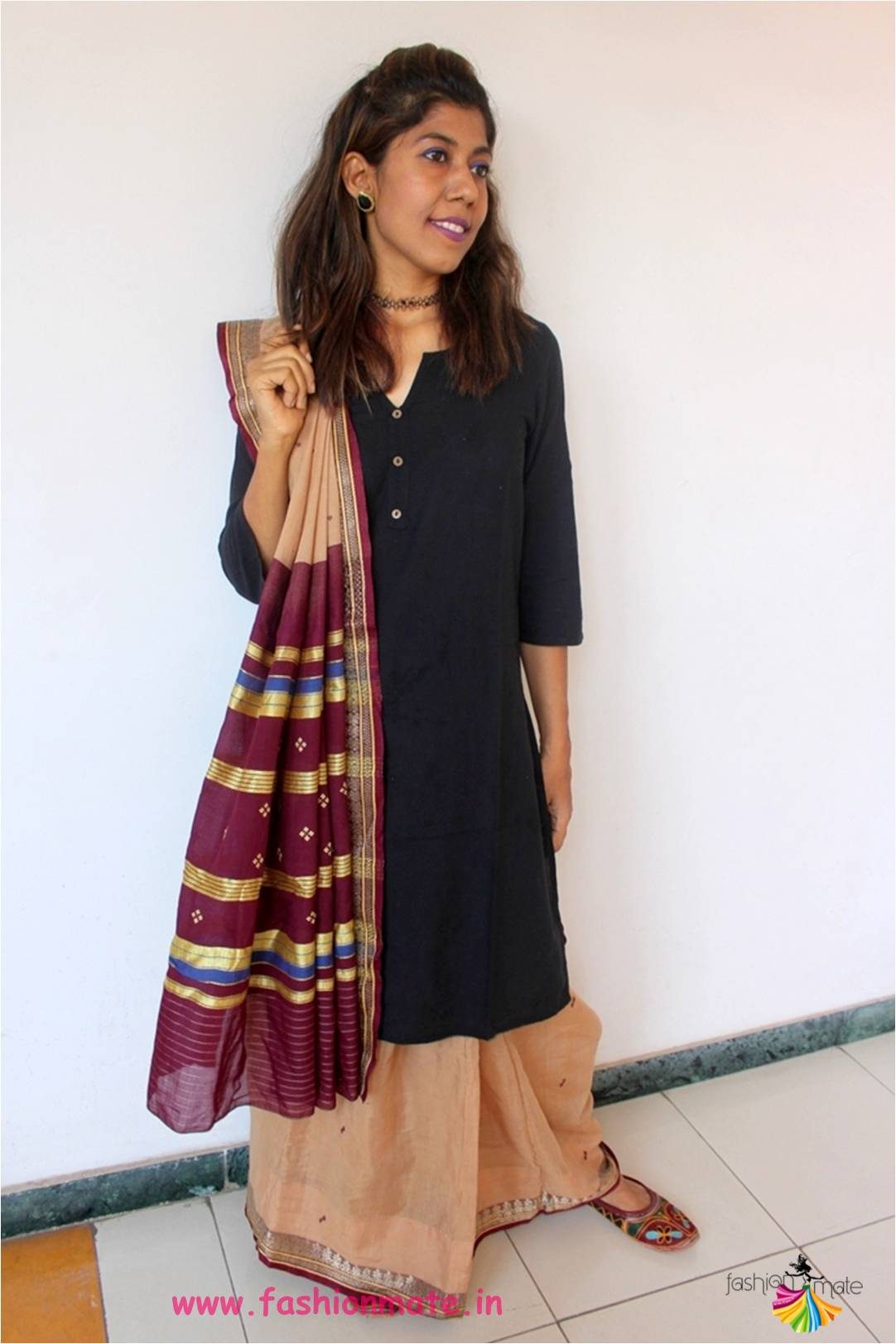 Kurta Saree 2 – How to style your basic black kurta with Cotton Saree