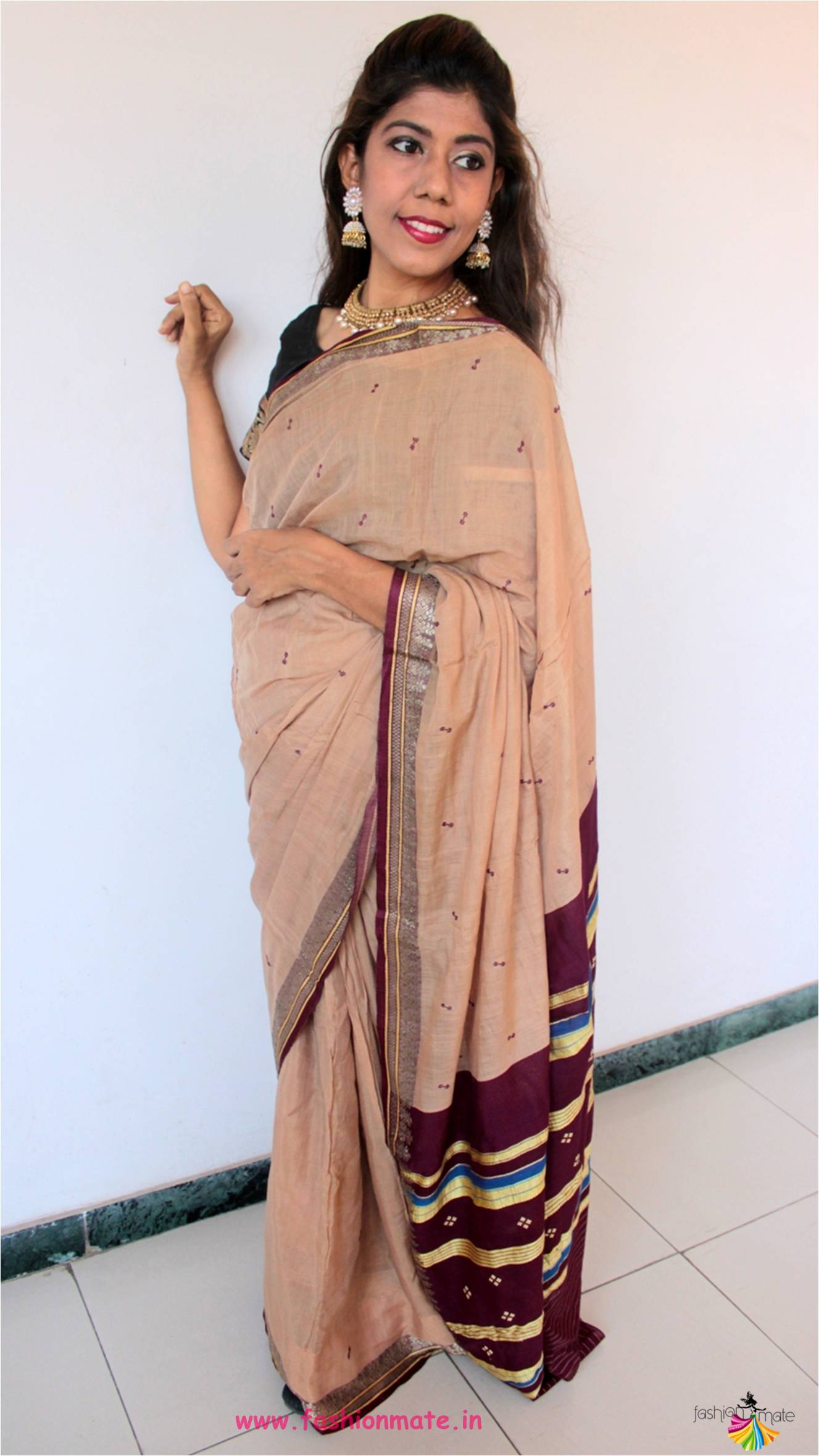 OOTD – Cotton Saree for Traditional look and Monsoon makeup