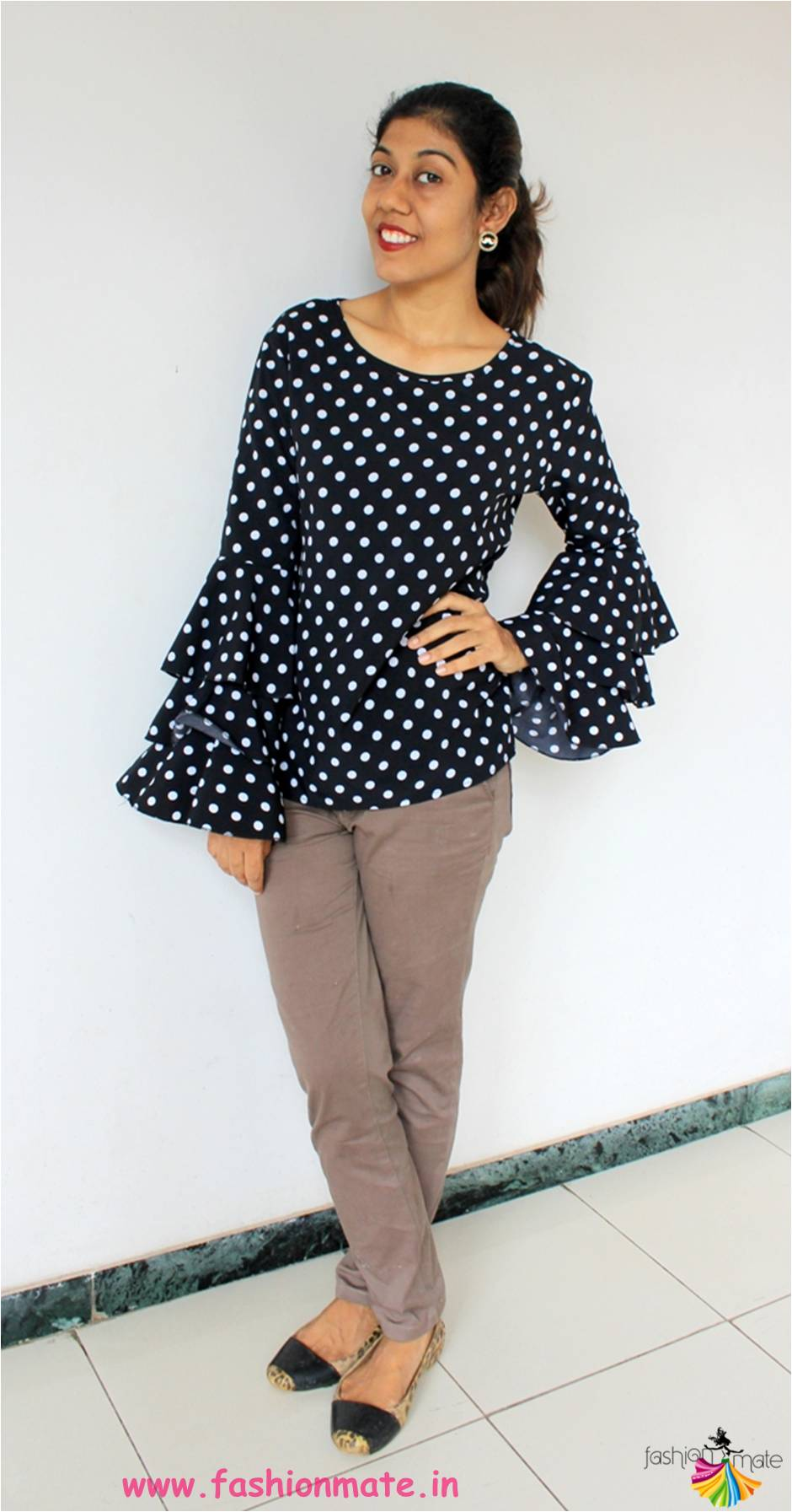 f5db3f23cc0a08 comfort style 2018 - polka dot bell sleeves top trend